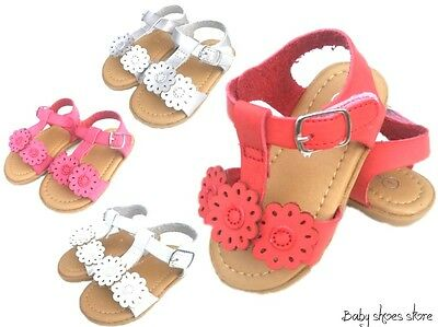 New toddler girls flower sandals shoes size 3-8 white,silver,red,pink