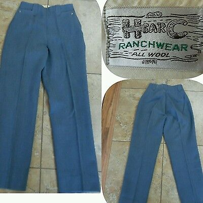 VTG H Bar C Ranchwear WOMENS WOOL WESTERN PANTS Blue Side Zip Tailored S