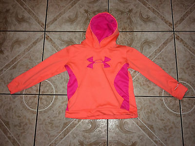 Girl's Under Armour Sweater Hoodie Size L Large Loose Orange Polyester