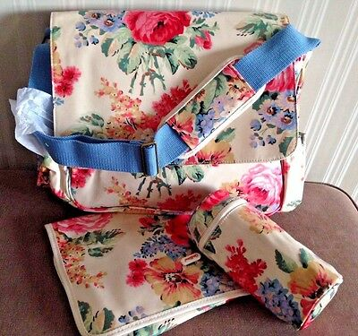 CATH KIDSTON Baby Nappy Changing  Bag, Mat Bottle Holder Bloomsbury Bouquet