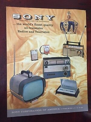 Vtg Sony Advertising Transistor Radio Portable Television Sales Flyer 1960s