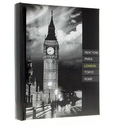 "Large Black Slip In Photo Album Holds 300 6"" x 4"" Photos Memo London UK Gift"