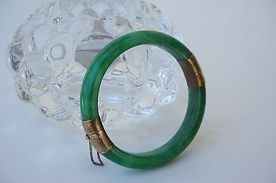 Chinese Icy Apple Green Jade Bracelet GF Safety Chain Hinge