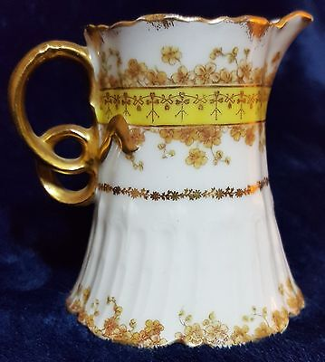 Antique Haviland Limoges CFH GDM pitcher hand-painted gold flowers and garlands