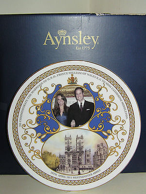 AYNSLEY COMMEMORATIVE 21cm PLATE MARRIAGE PRINCE WILLIAM KATE MIDDLETON WEDDING