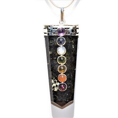 "CHARGED 7 Chakra Greenlandic Nuummite Crystal Perfect Pendant™ + 20"" Chain"