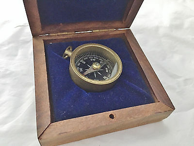 Vintage Small Compact Old Compass Metal Wood Box Maritime Brass Nautical Marine