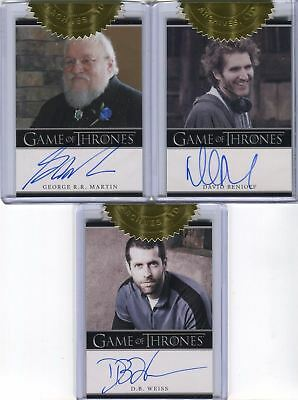 GAME OF THRONES Seas 2 Case Incentive 3 Card Autograph LOT Benioff Weiss Martin
