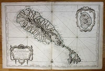 1753 St Kitts island Lesser Antilles nautical sea chart map Bellin antique print