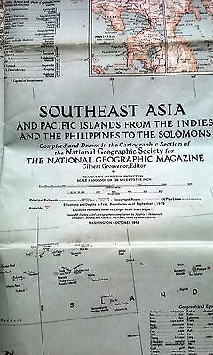 WWII National Geographic Map Southeast Asia Pacific Islands 1944 Wartime