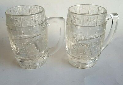 DAD's ROOT BEER Vintage SET of 2 Heavy Barrel Shaped Glass Mugs Raised Graphics