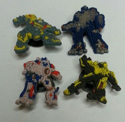 TRANSFORMERS 4pc set SHOE CHARMS LOT FOR CROC SHOE JIBBITZ BRACELETS AUTOBOTS