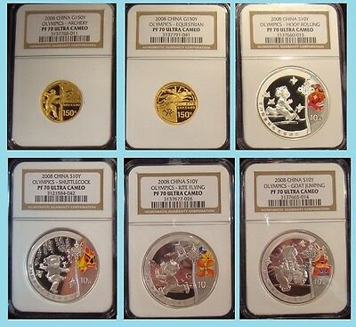 2008 China Olympic Set 2 Gold 4 Silver All Ngc Pf 70 Ultra Cameo Rare