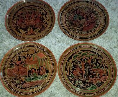 BURMA CARVED ENGRAVED LACQUER PLATE BURMESE LACQUER antique WOOD Plates
