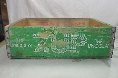 Vintage Wooden Green 7-Up Soda Pop Bottle Crate Carrier Tool The Uncola Open Box