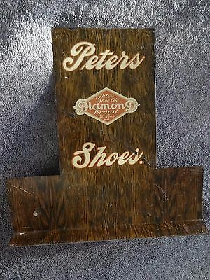 Ca. 1920 PETERS DIAMOND BRAND SHOES Metal Advertising Store Display Sign