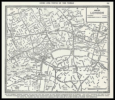 City of LONDON England Britain Europe 1941 antique detailed Plan Map