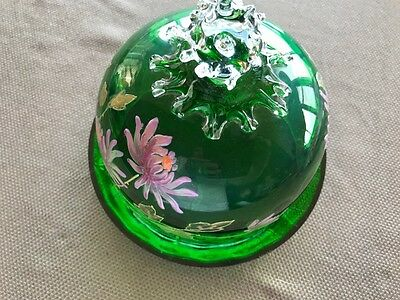 Antique Fenton? Handpainted Green Glass Cheese Bell - Blown Glass - Floral