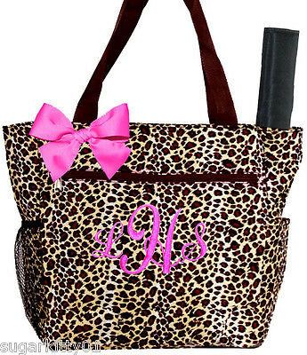 Personalized Brown Cheetah Pattern Diaper Bag Pink Bow and Changing Pad