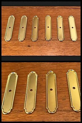 6 BACK PLATES for Knobs Cabinet Drawer Bright Brass Tone Amerock Vintage