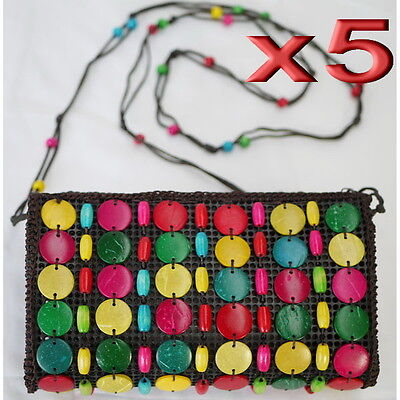 5pc Wholesale Handmade Wooden Colorful Crossbody Bag Women Girl Handbag Purse