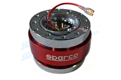 SPARCO 2 Tone Silver/RED Steering Wheel Quick Release Snap Off Boss Kit