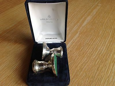 A Pair of Silver Miniature Candle Sticks in box