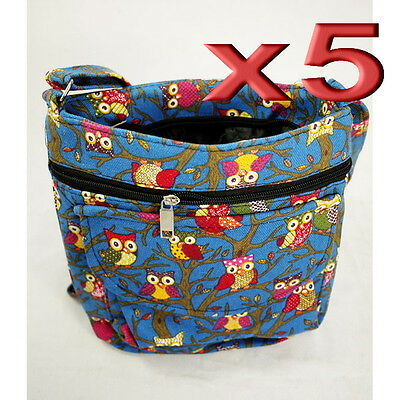 5pc Wholesale Bulk Lots Owl Canvas Long Shoulder Crossbody Bag Lady Girl Handbag