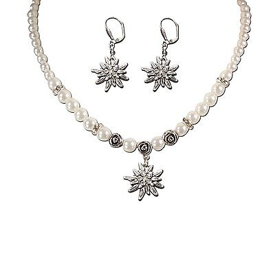Bavarian Necklace and Earring Set Edelweiss White - Traditional German Dirndl,