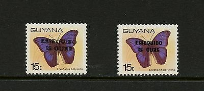 Guyana 1981 #391-1A  butterflies OVERPRINTED with and without SERIFS  MNH J928