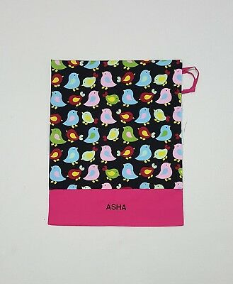 Free Name Cute Little Bird Personalised M40 Embroidery Library Bag Kinder Fd