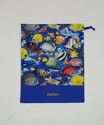 $Free Name Fish All Over Personalised Embroidery Library Bag Kinder Fd