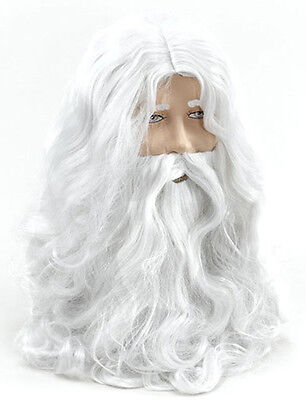 Mens White Wig & Beard Wizard Merlin Old Man God Santa Long Hair Fancy Dress