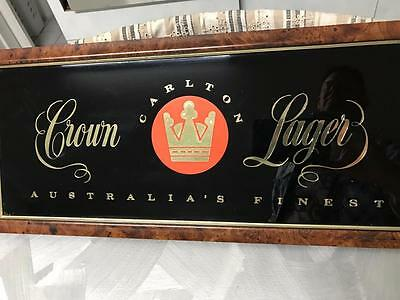 Vintage Australian Crown Lager Beer Bar Sign Mancave Home Shed Wall Mirror
