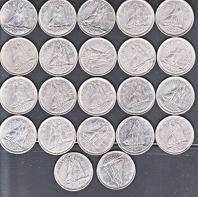 1968/92 CANADIAN GROUP OF 10c COINS (MM361)
