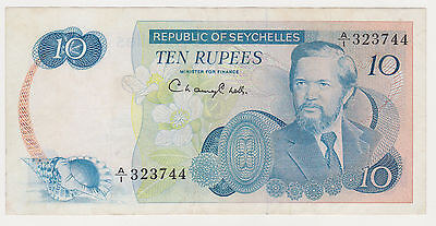SEYCHELLES 10 rupees ND 1976 VF scarce P.76