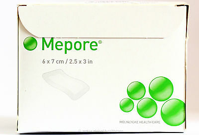 MEPORE ADHESIVE FABRIC DRESSING QUALITY MOLNLYCKE BRAND 6 x 7 CM  1 BOX OF 60