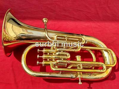 Euphonium 4 Valve Brass Gold  Bb Pitch With Free Box MouthPc & Fast Shipping