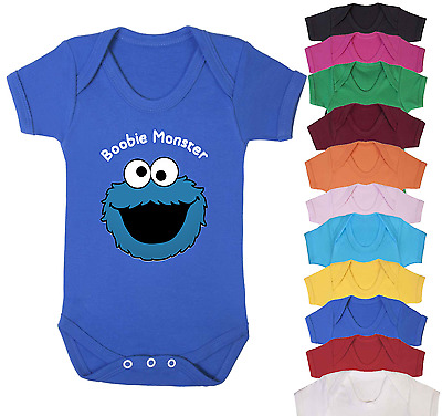 Boobie Monster Baby Vest Babygrow Bodysuit Gifts Novelty Baby Shower Gifts