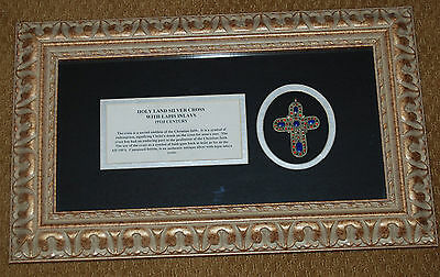 Antique 19th Century Holy Land Silver Cross w/Lapis Inlays in Shadowbox w/ COA