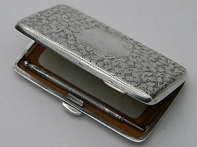 Edwardian Solid Silver Leaf Aide Memoire Note Holder with Pencil 1904 Birmingham