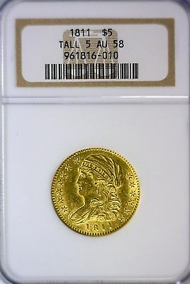 1811 Capped Bust $5, Tall 5, Gold Half Eagle, NGC graded AU58