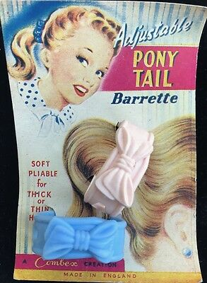 Made in England 1950s pony Tail Adjustable Barrettes on Lovely Display card