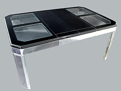 Mid Century Modern Mod Lucite and Glass Expandable Dining Table Baughman Era