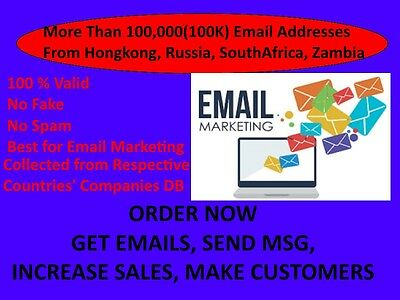 Buy More Than 100K Active email addresses from Hongkong,Russia, SouthAfrica, ZA