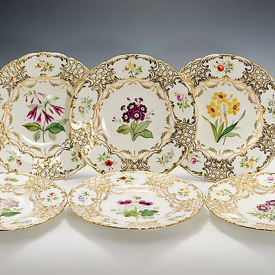 Dessert Display 19th c English Porcelain Gold Handpainted 6 Six Plates