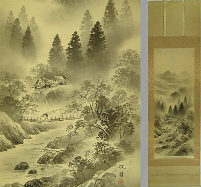 YK531 KAKEJIKU Landscape Hanging Scroll Japanese Art painting Picture Geijyutu