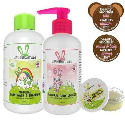Natural & Organic Baby Care Set - Suitable for Sensitive & Eczema prone skin.