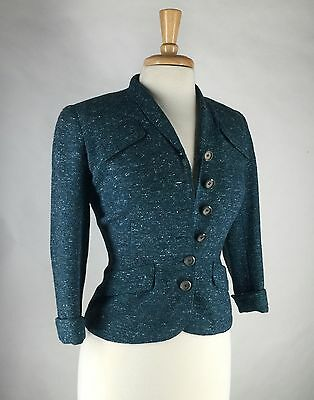 Fab! Vtg 40s 50s Bullock's Flecked Wool Fitted Hourglass Suit Jacket XS S