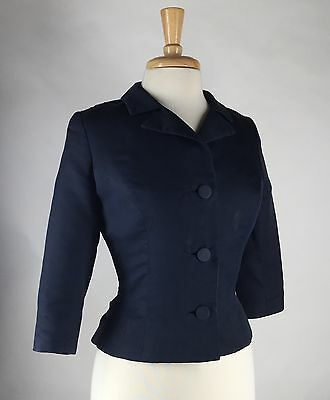 Vtg 50s 60s Princess Seamed Fitted Cropped Suit Jacket S M